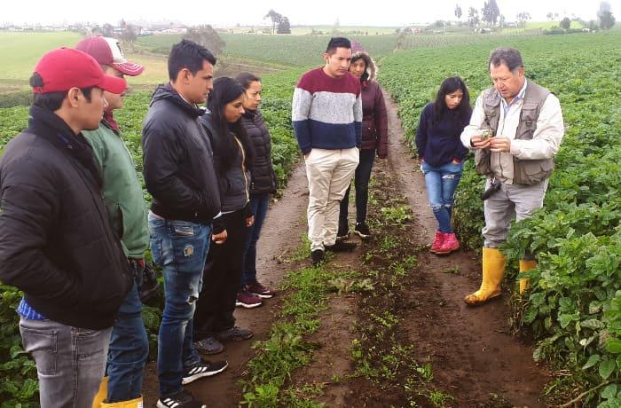 Imagen de dos agricultores novatos aprendiendo a cosechar en el campo